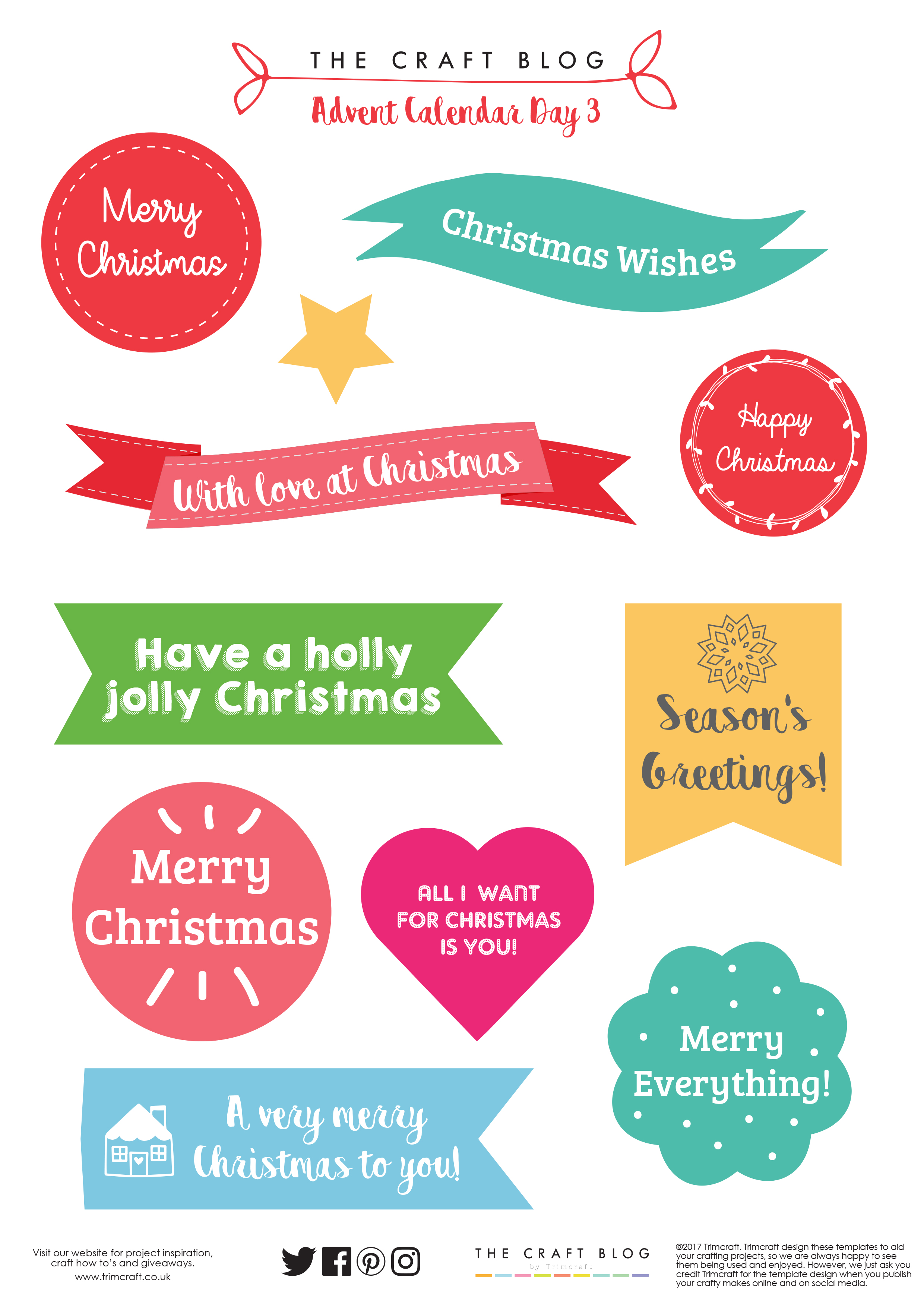 Happy Christmas Simply Creative Sentiment Toppers stickers red /& green