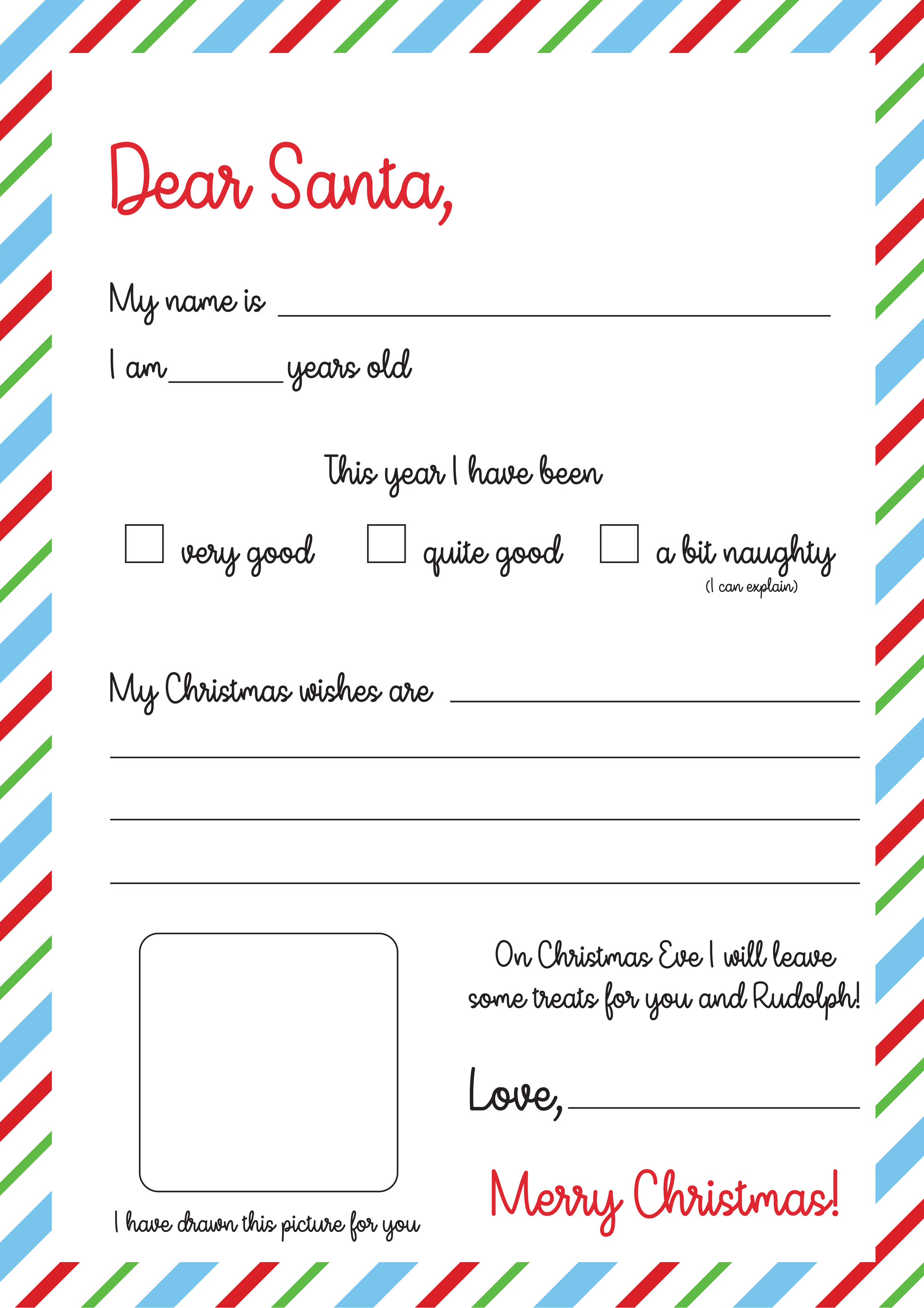 Free Letter To Santa Template Print The Craft Blog