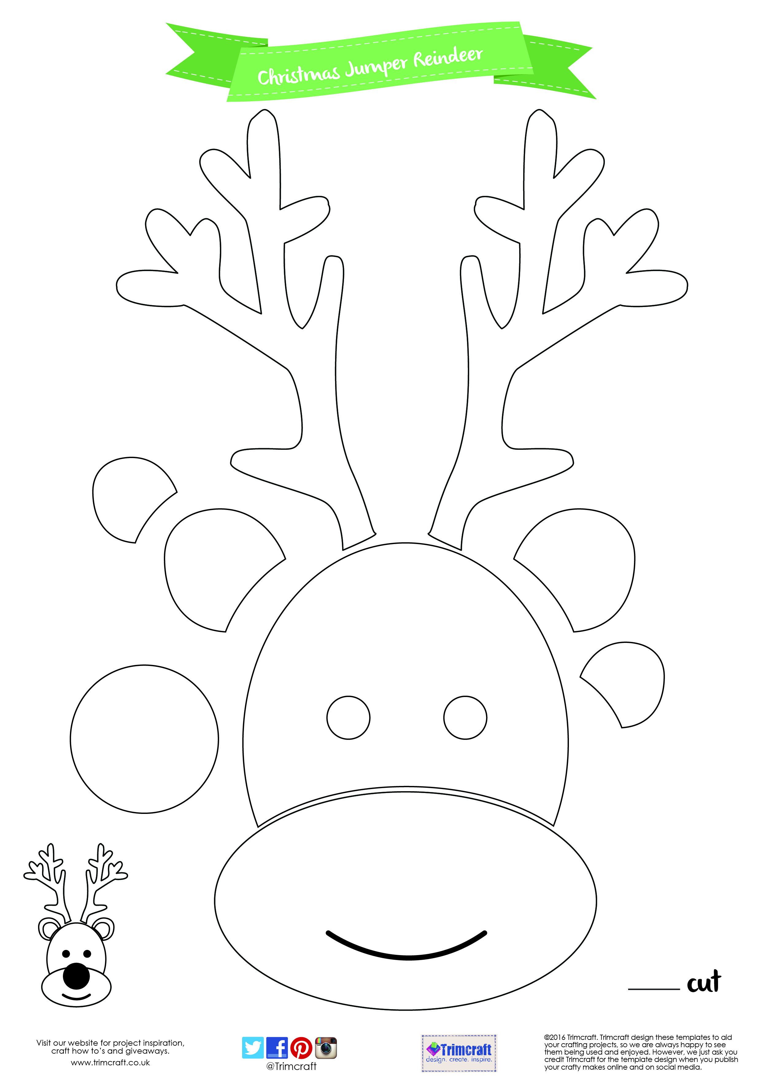 It is a picture of Printable Reindeer Template with regard to santa and his reindeer