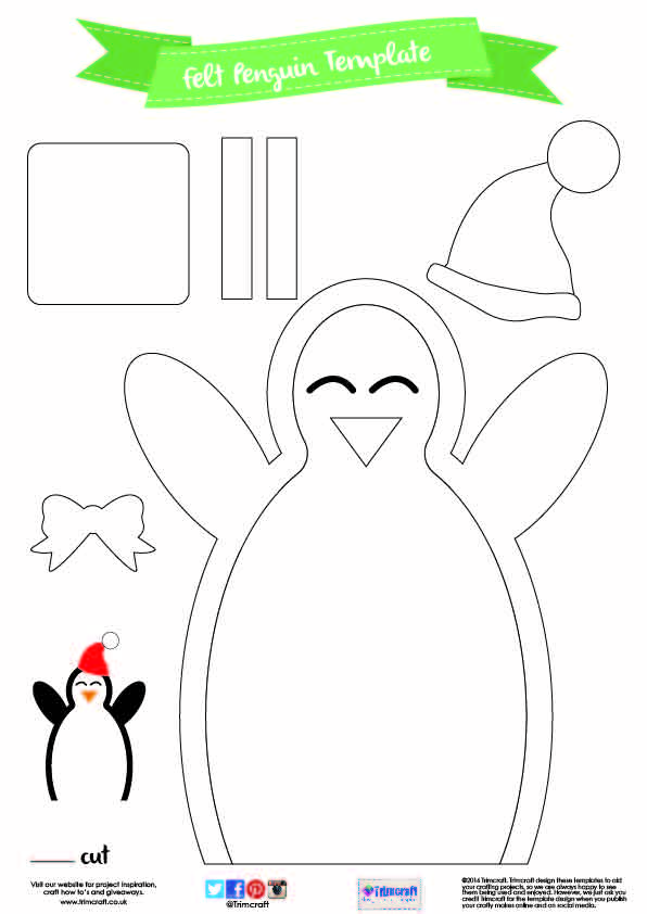 DIY No Sew Christmas Sack with Free – Penguin Template