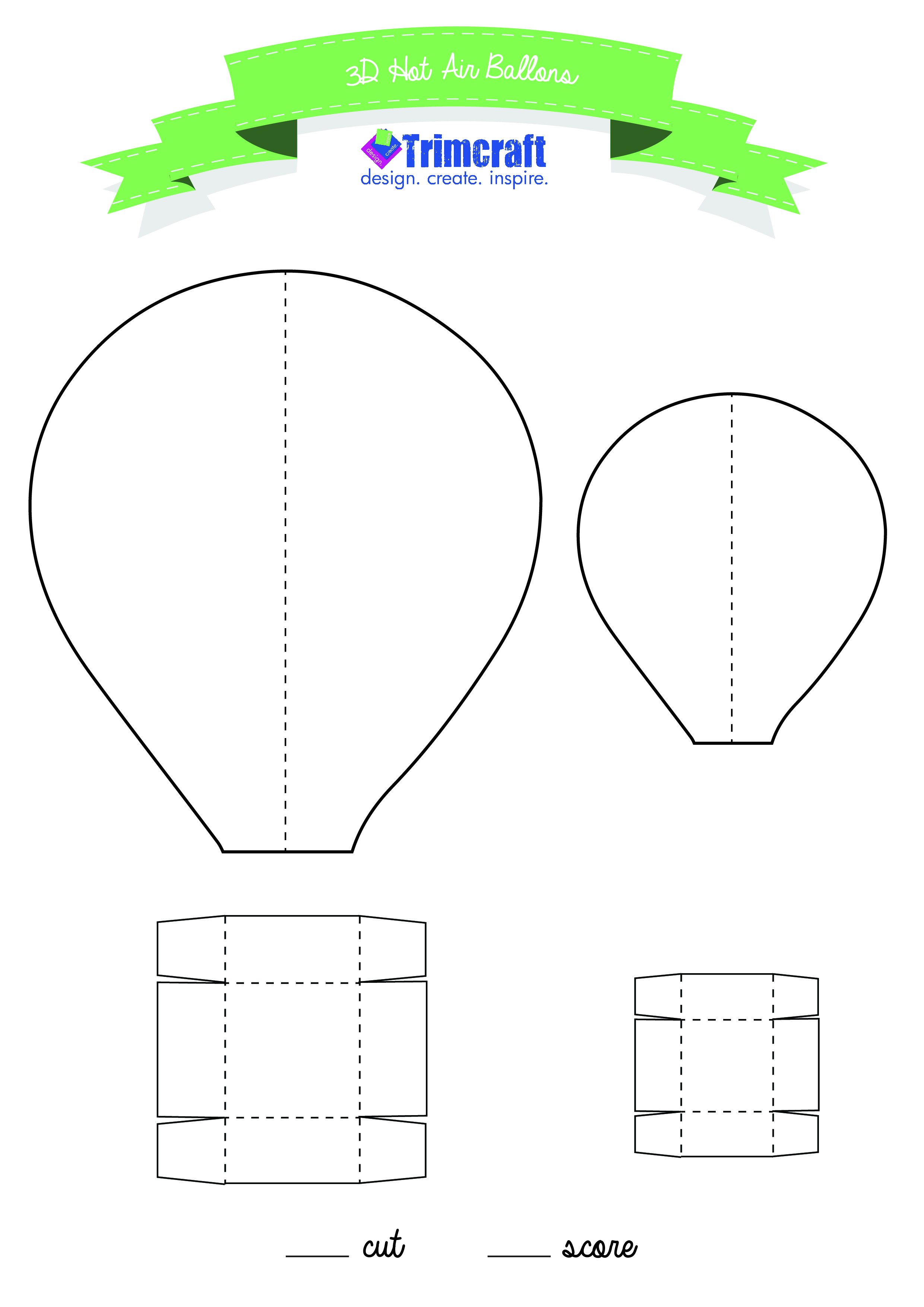 image about Hot Air Balloon Pattern Printable called 3D Sizzling Air Balloons With Printable Template The Craft Website