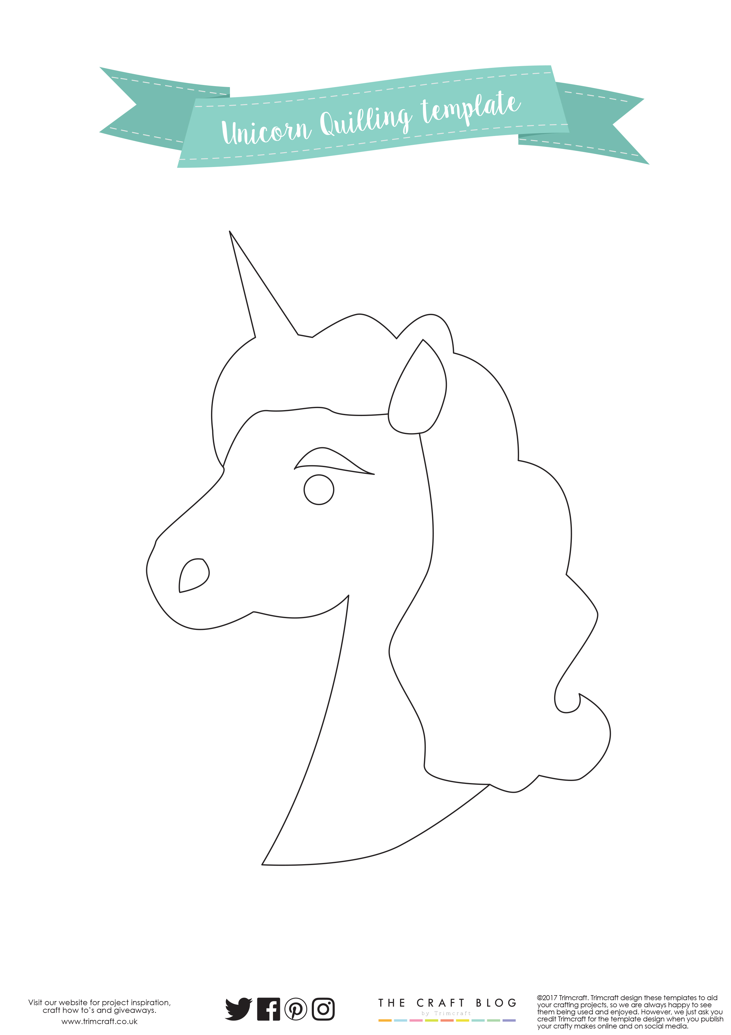 Free printable craft templates the craft blog unicorn quilling home decor template pronofoot35fo Choice Image